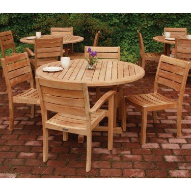 Three Birds Casual Oxford 3-Feet Table with Sedona Stacking Side Chairs, Teak