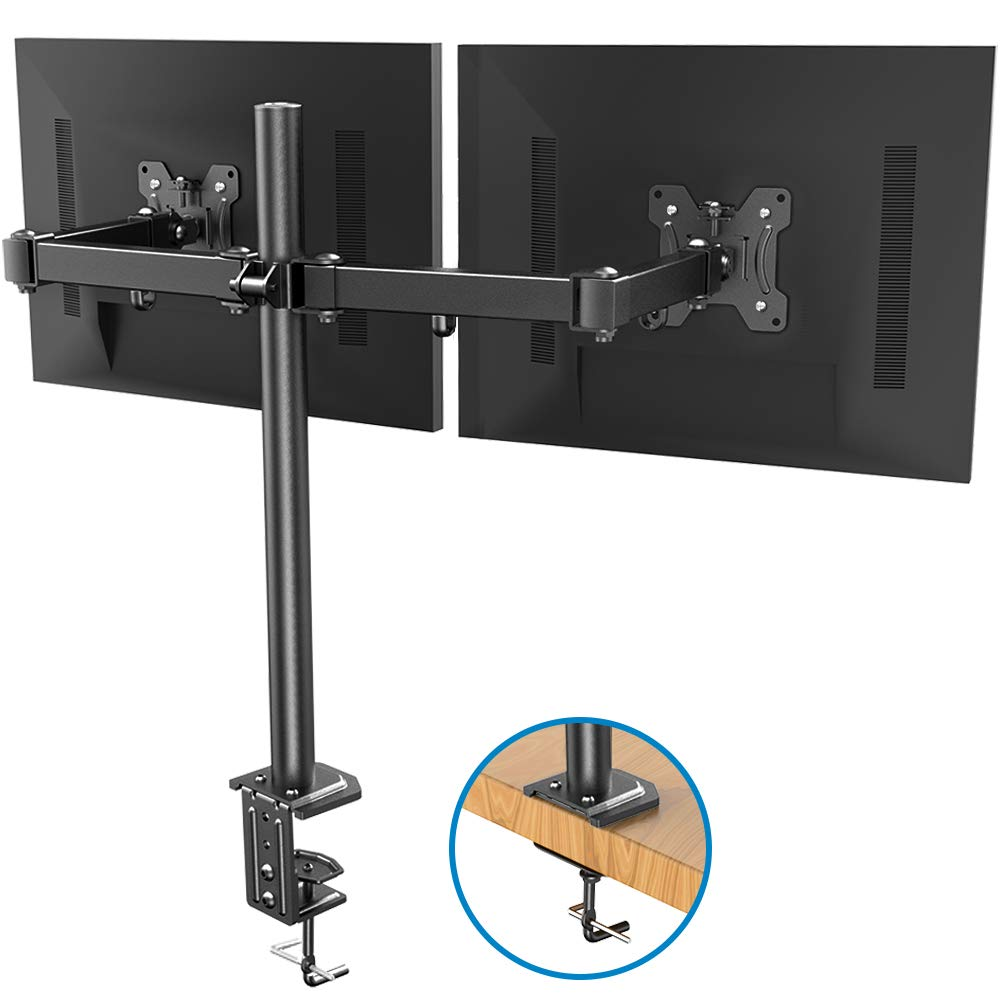Dual Monitor Stand - Double Articulating Arm Monitor Desk Mount - Adjustable VESA Bracket with C Clamp, Grommet Mounting Base for Two 13-27 Inch LCD Computer Screens - Holds up to 17.6lbs by HUANUO by HUANUO