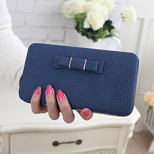 OME&QIUMEI Frau Lange Wallet Quadratischem Querschnitt Art Haken Brieftasche (18,5 Cm * 10 Cm * 3 Cm) Blue