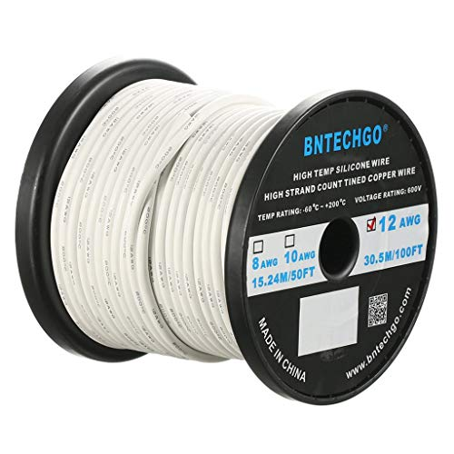 (BNTECHGO 12 Gauge Silicone Wire Spool White 100 feet Ultra Flexible High Temp 200 deg C 600V 12 AWG Silicone Rubber Wire 680 Strands of Tinned Copper Wire Stranded Wire)