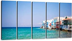KiiAmy 5 Panels Art Wall Decor Little Venice The Most Popular Sight in Mykonos Island on Greece Artwork Modern Canvas Prints Office Bedroom Home Decor Framed Painting Ready to Hang (60''Wx32''H)