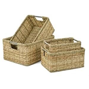 """Cesta para estanterías estante basket-Set 4 pcs """"plátanos hojas y algas marinas"""""""