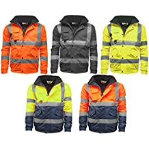 Mens Waterproof Two Tone Bomber Jacket Hi Vis Visibility Work Wear Hi Vis Standard