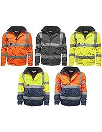 CST STS Mens Waterproof Two Tone Bomber Jacket Hi Vis Visibility Work Wear Hi Vis Standard