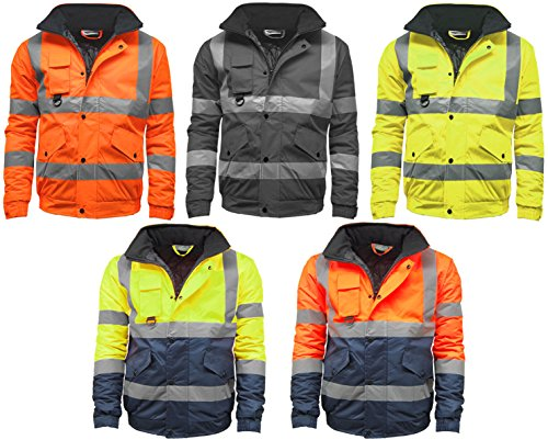 STS Mens Waterproof Two Tone Bomber Jacket Hi Vis Visibility Work Wear Hi Vis Standard Black