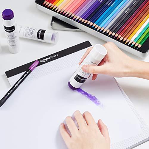 AmazonBasics Large Washable Purple Glue Sticks (Dries Clear), 1.4 oz Stick, 3-Pack