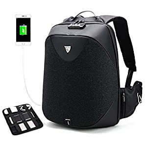 """Business Laptop Backpack, Anti Theft Waterproof Travel Backpack with Lock&Anti-explosion Zipper&Electronic Organizer Board, Slim College School Computer Bag with USB Charging Port Fits 17"""" Laptop"""