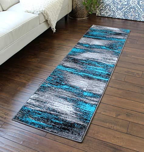 Masada Rugs, Modern Contemporary Area Rug, Turquoise Grey Black (2 Feet X 7 Feet) (Furniture Indonesia Shabby Chic)