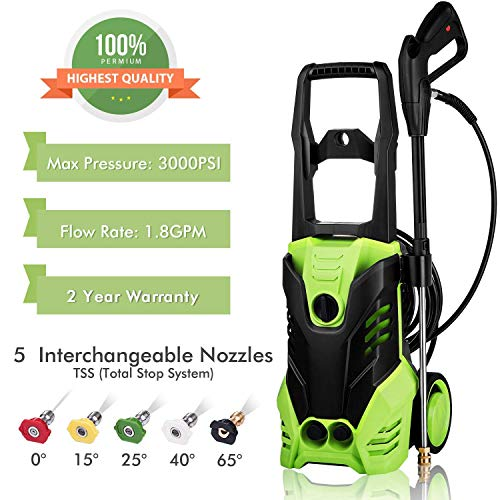 3000 PSI Pressure Washer, Power Washer, Electric Pressure Washer, High Pressure Washer Cleaner Machine with 5 Nozzles,1800W Rolling Wheels,for Cleaning Cars, Houses Driveways, Patios,and More Review