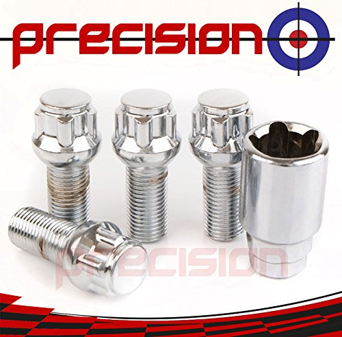Precision Chrome Locking Radius Bolts for Genuine ṾW Ṿolkswagen Caddy Alloy Wheels Part No.B14R141