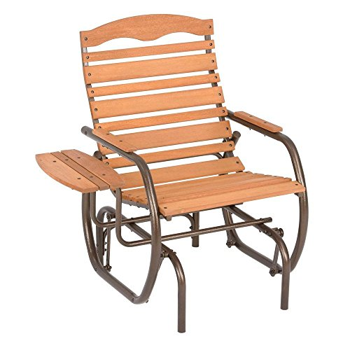Country Garden Natural Patio Glider Chair with Trays (Jack Post Glider)