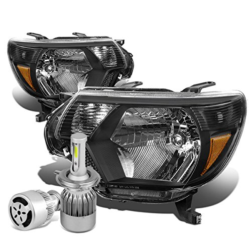 For Tacoma 2nd Gen Facelifted Black Housing Amber Corner Headlight + H4 LED Conversion Kit W/Fan