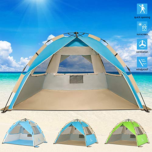 G4Free Upgraded Easy Setup Beach Tent Deluxe XL Sun Shelter with UPF 50+ UV Protection, 4 Person Family Size Sun Shade Cabana for Camping Sports Fishing(New-Lake Blue) (Best Easy Beach Tent)