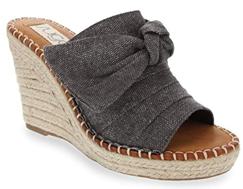 Sugar Women's Hundreds Espadrille Wedge Sandals with Knotty Bow Detail 9 Black Canvas]()