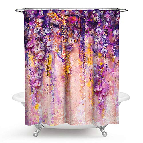 PHNAM Floral Polyester Fabric Shower Curtains 72 x 72 Inches Long Waterproof Spa Curtain with Stainless Steel Hooks Set (Pink) (And Purple Pink Curtain Shower)