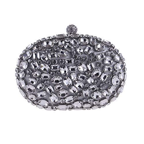 Yzibei catena a 2 matrimonio pochette sera con Colore Argento nero fatta da pratico mano Borsa Argento con da donna per argento r6wqr1