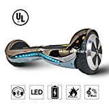 Hoverboard 6.5'' UL 2272 Listed Premium Two-Wheel Self Balancing Electric Scooter with Bluetooth Speaker (Chrome Titanium)