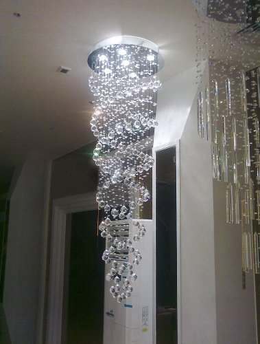 Siljoy double spiral chandelier k9 crystal rain drop design led siljoy double spiral chandelier k9 crystal rain drop design led ceiling light fixture d50 x h150 aloadofball Images