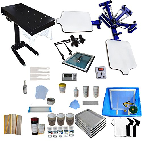 Screen Printing Machine 2 Station 4 Color Screen Printing for T-shirt DIY Screen Printing Press Silk Screen Printing Kit by Screen Printing Kit
