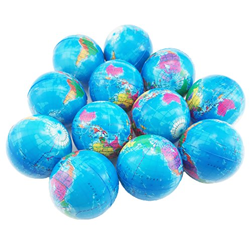 Oruuum 12 Globe Squeeze Stress Balls Earth Ball - Squeeze Relief Novelty Toys ()