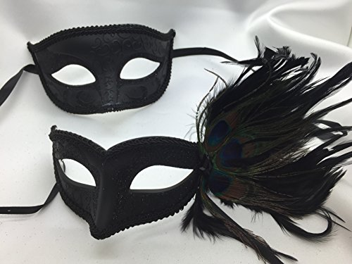 Couples Masquerade Mask, Charming and Sexy Black Peacock Mask, Black Masquerade Mask, Mens Masquerade Mask, Mask Mardi Gras Masks, Mardi Gras (Peacock Couple Costume)
