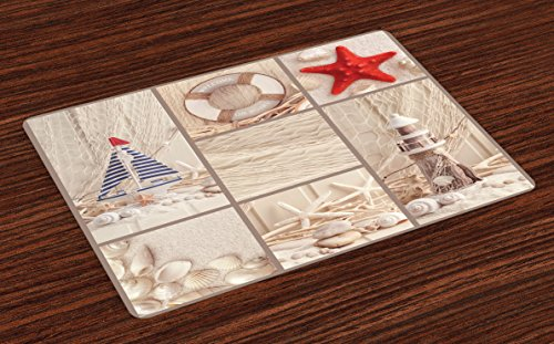 (Lunarable Nautical Place Mats Set of 4, Marine Sail Boat Lifebuoy Starfish Lighthouse Sand Shell Sea Life Collage Design, Washable Fabric Placemats for Dining Room Kitchen Table Decor, Blue Red)