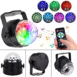 Disco Lights Sound Activated Party Lights with Remote Control Dj Lighting RBG Disco Ball, Strobe Lamp 7 Modes Stage Light for Family Parties KTV bar Christmas Halloween DJ Wedding Stage Decoration (Color: Black, Tamaño: 1-PACK)
