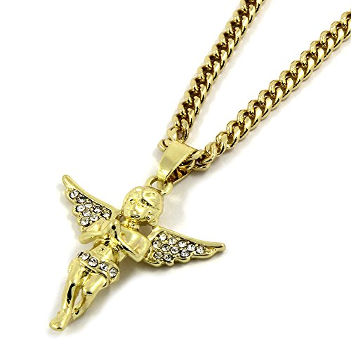 7d885045325 Men's Gold Tone Small CZ Open Wing Prayer Angel Hip Hop Pendant with 30