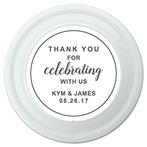 Graphics and More Personalized Custom White Line Circle Thank You for Celebrating with Us Wedding Novelty 9