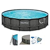 SUMMER WAVES Elite Wicker Print 20' x 48'' Above Ground Frame Pool Set w/Pump