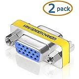 SVGA Connector, WOVTE DB HD New 15 VGA SVGA KVM Female to Female Gender Changer Adapter Coupler Pack of 2