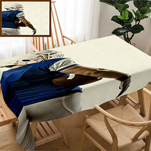 Skocici Unique Custom Design Cotton and Linen Blend Tablecloth Football Player with A Blue Uniform On A White BackgroundTablecovers for Rectangle Tables, 60