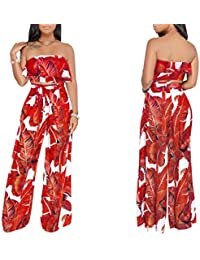 0944c60dc5 Women s 2 Pieces Outfit Floral Sleeveless Tube Top Palazzo Long Pants High  Waist Jumpsuits