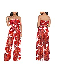 YSJERA Women's 2 Pieces Floral Tube Top Long Palazzo Pants Jumpsuits