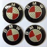 4pcs White-red Carbon Fiber Emblem Badge Logo Wheel Center Hubs Caps Sticker Adhesive for bmw