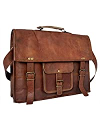 IN-INDIA Leather Vintage Cross body Messenger Courier Satchel Bag Gift Men Women ~ Business Work Briefcase Carry Laptop Computer Book (Brown) (18 Inch)