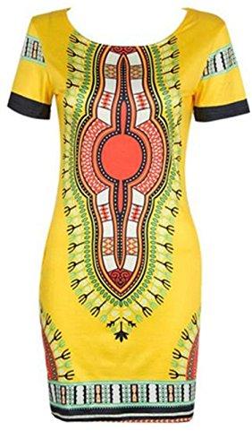 Donne Sexy Giallo Corta Aderente Dashiki Stampa Africana Tradizionale Abito Manica Donna Familizo qEx8waR1a