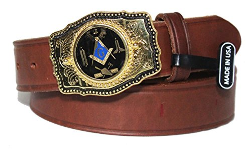 Brown Custom Masonic Working Tools 1 1/2 inch Dress Belt with Buckle. Made in the USA Size 42 (Custom Made Belt Buckles)