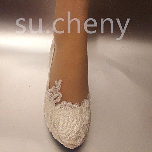 de Zapatos 5 Nupcial Cuñas 5 Blanca Baja Blanco 11 Cordón US Boda JINGXINSTORE 11 cm Tamaño xTnFtpqW