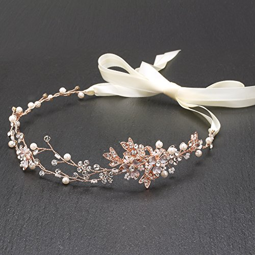 Mariell Rose Gold Freshwater Pearl and Crystal Bridal Ribbon Headband Hair (Crystal Hair Vine)
