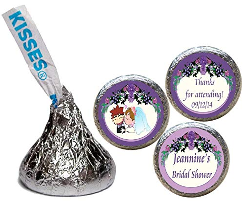 Bridal Shower Wedding Stickers for the Bottom of Chocolate Kisses, Personalized (Set of ()