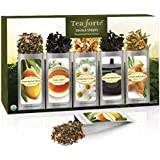 Tea Forté Classic SINGLE STEEPS Loose Leaf Tea Sampler, 15 Single Serve Pouches - Green Tea, Herbal Tea, Black Tea