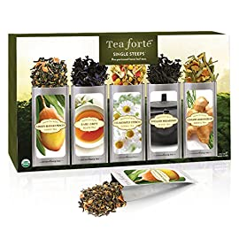 Tea Forte Single Steeps Loose Leaf Tea Sampler, Assorted Variety Tea Box, 15 Single Serve Pouches 87 GREEN TEA SAMPLER with five varieties of our most popular green tea blends - Sencha, Green Mango Peach, Jasmine Green, Lemon Sorbetti & Moroccan Mint DIVERSE, SUBTLE FLAVORS from only the finest tea leaves in the world, a unique selection of enduring green teas, known for the remarkable and essential health benefits that a daily cup can bring DELIGHTFUL TEA GIFT SET with a premium collection of gourmet teas, a most welcomed hostess gift or gift for tea lovers