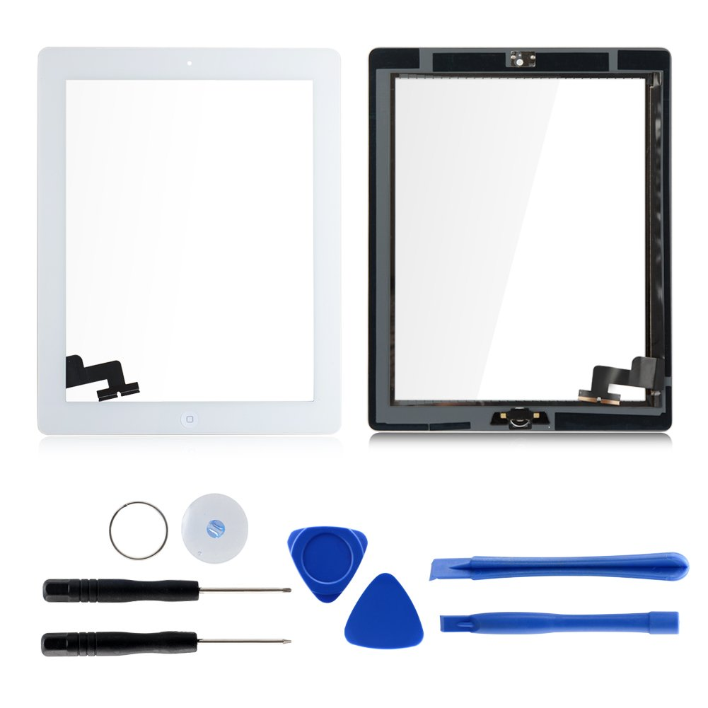 White 9.7'' Touch Screen Digitizers Assembly for iPad 2 with Home Button Replacement (Adhesive Tape + Repair Tool Kit Included)
