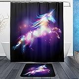 ALAZA Set of 2 Shiny Rainbow Unicorn 60 X 72 Inches Shower Curtain and Mat Set, Colorful Animal Unicorn Waterproof Fabric Bathroom Curtain and Rug Set with Hooks