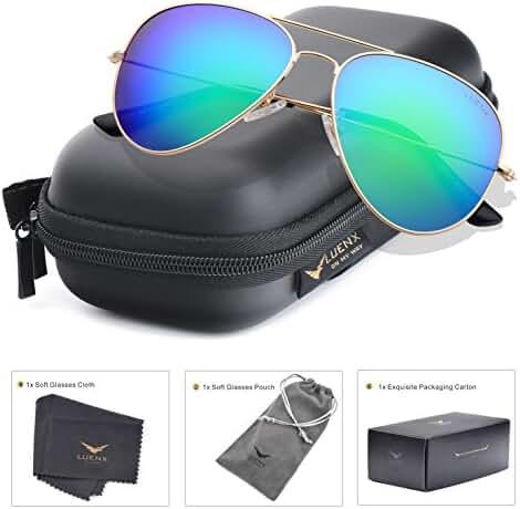 LUENX Sunglasses Aviator Polarized for Men & Women with Eyeglasses Case - UV 400