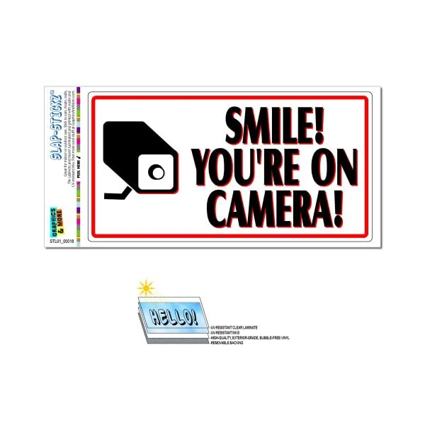 Graphics And More Smile You're On Camera Video Surveillance   Business Sign Slap STICKZ(TM) Automotive Car Window Locker Bumper Sticker