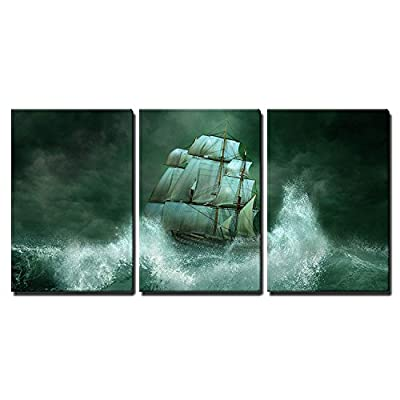 3 Piece Canvas Wall Art - Ghost Ship in The Sea - Modern Home Art Stretched and Framed Ready to Hang - 16