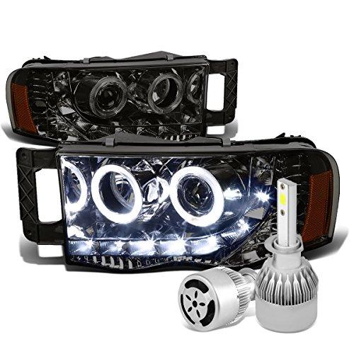 Dodge Ram 3rd Gen Smoked Lens Amber Corner Dual Halo Projector Headlight + H1 LED Conversion Kit W/ Fan Halo Headlights Conversion