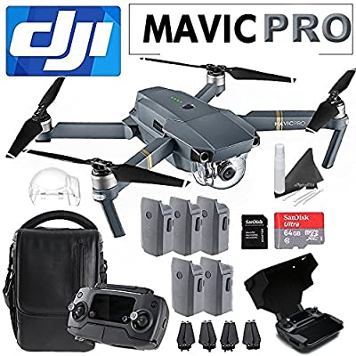 DJI Mavic Pro Collapsible Quadcopter Premium Bundle: Includes DJI Shoulder Bag, 5 Intelligent Flight Batteries, Remote Monitor Hood, SanDisk 64GB MicroSD Card and more… by eDigitalUSA